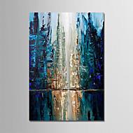 olcso -Hang festett olajfestmény Kézzel festett - Absztrakt Modern Tartalmazza belső keret / Nyújtott vászon