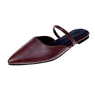 baratos Sapatos Femininos-Mulheres Sapatos Couro Ecológico Verão Chanel Tamancos e Mules Sem Salto Dedo Apontado Preto / Bege / Castanho Escuro