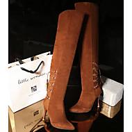 baratos Sapatos Femininos-Mulheres Couro Ecológico Inverno Conforto / Botas da Moda Botas Salto Robusto Botas Acima do Joelho Preto / Laranja / Castanho Claro