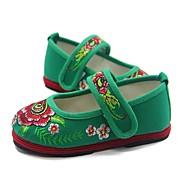 billige Moderne sko-Jente Moderne sko Bomull Joggesko Flat hæl Dansesko Rød / Grønn