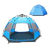 4 fő Automatikus sátor Külső UV ellenálló Vízálló UPF50+ Kétrétegű Automatikus kemping sátor 2000-3000 mm mert Kempingezés / Túrázás / Barlangászat PU bőr 240*240*135 cm