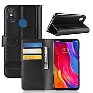 billiga Mobil cases & Skärmskydd-fodral Till Xiaomi Mi 8 / Mi 8 SE Plånbok / Korthållare / med stativ Fodral Enfärgad Hårt Äkta Läder för Xiaomi Redmi Note 5 Pro / Xiaomi Redmi Note 5 / Xiaomi Redmi Note 4X / Xiaomi Mi 6