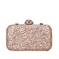 Žene Torbe PU / Legura Večernja torbica Kristalni detalji / Pletena ljetna obuca Crn / Blushing Pink / Srebro