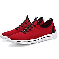baratos Sapatos Masculinos-Homens Tricô / Tecido elástico Verão Conforto Tênis Corrida / Fitness Preto / Vermelho