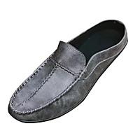 baratos Sapatos Masculinos-Homens Mocassim Couro de Porco Verão Tamancos e Mules Preto / Cinzento / Marron