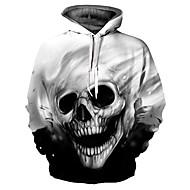 Men's Basic / Exaggerated Hoodie - 3D / Skull, Print