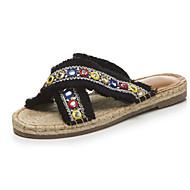 baratos Sapatos Femininos-Mulheres Sapatos Linho Verão Conforto Chinelos e flip-flops Sem Salto Preto / Bege