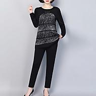מכנס דפוס, גיאומטרי - סט בסיסי / סגנון רחוב בגדי ריקוד נשים