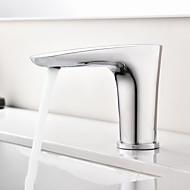 tanie Baterie prysznicowe-Bateria do umywalki łazienkowej - Dotykowa / Bezdotykowa / Czujnik Chrom Umieszczona centralnie Wolne ręce Jeden otwór