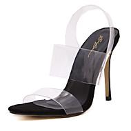 baratos Sapatos Femininos-Mulheres Sapatos PVC Primavera Verão Plástico / Shoe transparente Saltos Salto Agulha Dedo Aberto Cristais Preto / Amêndoa / Festas & Noite