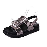 baratos Sapatos Femininos-Mulheres Sapatos Couro Ecológico Verão Chanel Sandálias Creepers Mocassim Branco / Preto / Prateado