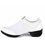 billige Jazz-sko-Dame Jazz-sko Gummi Joggesko Kubansk hæl Dansesko Hvit / Svart / Rød