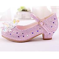 baratos Sapatos de Menina-Para Meninas Sapatos Sintéticos Primavera & Outono Sapatos para Daminhas de Honra / Salto minúsculos para Adolescentes Saltos para Prata / Rosa claro