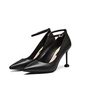 baratos Sapatos Femininos-Mulheres Sapatos Pele Primavera Verão Plataforma Básica Saltos Salto Agulha Dedo Apontado Pérolas Sintéticas Branco / Preto