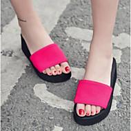baratos Sapatos Femininos-Mulheres Sapatos Lona Verão Conforto Chinelos e flip-flops Sem Salto Ponta Redonda Preto / Vermelho