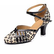 billige Moderne sko-Dame Moderne sko Lær Høye hæler Tykk hæl Dansesko Leopard / Ytelse / Trening