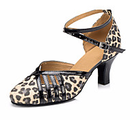 billige Moderne sko-Dame Moderne sko Lær Høye hæler Tykk hæl Dansesko Leopard
