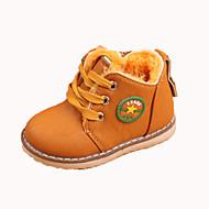baratos Sapatos de Menino-Para Meninos Sapatos Couro Ecológico Outono & inverno Coturnos Botas para Infantil Amarelo / Vermelho / Castanho Escuro / Botas Curtas / Ankle / Slogan