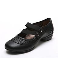 Χαμηλού Κόστους Παπούτσια Swing-Γυναικεία Παπούτσια για Swing Δερμάτινο Τακούνια Πυκνό τακούνι Παπούτσια Χορού Χρυσό / Μαύρο