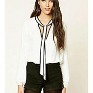 Damen Solide Hemd, V-Ausschnitt Weiß XXXXL