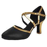billige Kustomiserte dansesko-Dame Moderne sko Lakklær Sandaler / Høye hæler Spenne Kubansk hæl Kan spesialtilpasses Dansesko Svart og Gull