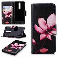 billiga Mobil cases & Skärmskydd-fodral Till Nokia Nokia 5.1 / Nokia 3.1 Plånbok / Korthållare / med stativ Fodral Blomma Hårt PU läder för Nokia 8 / Nokia 6 2018 / Nokia 2.1