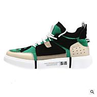 baratos Sapatos Masculinos-Homens Couro de Porco Primavera Verão Conforto Tênis Cinzento / Verde / Azul