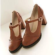 povoljno -Žene Cipele na petu Kockasta potpetica Okrugli Toe Kopča PU Cipele Mary Jane Ljeto Crn / Sive boje / Bijela / Dnevno