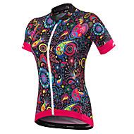 Malciklo Kadın's Kısa Kollu Bisiklet Forması - Siyah Çiçek / Botanik Büyük Bedenler Bisiklet Forma Nefes Alabilir Hızlı Kuruma Anatomik Tasarım Ultravioleye Karşı Dayanıklı Yansıtıcı çizgili Spor