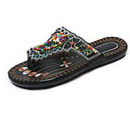 cheap -Women's Shoes PU(Polyurethane) Summer Comfort Slippers & Flip-Flops Flat Heel White / Black