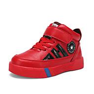 baratos Sapatos de Menino-Para Meninos Sapatos Couro Ecológico Primavera & Outono Conforto Tênis Caminhada Velcro para Infantil Branco / Preto / Vermelho / Estampa Colorida