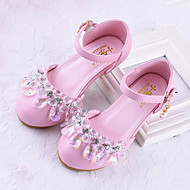 baratos Sapatos de Menina-Para Meninas Sapatos Couro Ecológico Primavera & Outono Salto minúsculos para Adolescentes Saltos Cristais para Infantil Prateado / Rosa claro