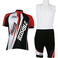 21Grams 男性用 男女兼用 半袖 ビブショーツ付きサイクリングジャージー - レッド / ホワイト パッチワーク クラシック バイク 洋服セット, 高通気性 速乾性 ポリエステル