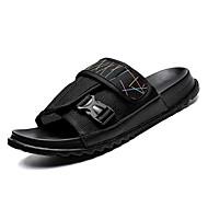 baratos Sapatos Masculinos-Homens Sapatos Confortáveis Lona / Com Transparência Verão Chinelos e flip-flops Preto / Marron