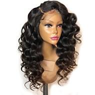 Remy hår Blonde Front Paryk Brasiliansk hår Løst, bølget hår Paryk Frisure i lag 150% Natural Hairline / Til sorte kvinder Sort Dame Lang Blondeparykker af menneskehår