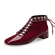 cheap Square Toe Boots-Women's Fashion Boots Patent Leather Spring &  Fall / Fall & Winter British Boots Block Heel Square Toe Booties / Ankle Boots Black / Wine / Almond / Party & Evening