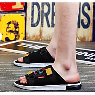 baratos Sapatos Masculinos-Homens Sapatos Confortáveis Couro Sintético Verão Temática Asiática Chinelos e flip-flops Preto