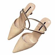 baratos Sapatos Femininos-Mulheres Couro Ecológico Verão Tira no Tornozelo Sandálias Salto Carretel Dedo Apontado Preto / Amêndoa