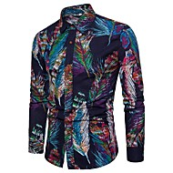 男性用 クラブ - プリント プラスサイズ シャツ ベーシック / ストリートファッション スリム カラーブロック リネン ネイビーブルー XXXL / 長袖