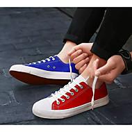 baratos Sapatos Masculinos-Homens Sapatas de novidade Lona Primavera / Outono Colegial Tênis Estampa Colorida Branco / Laranja / Azul