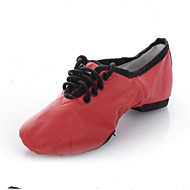 billige Jazz-sko-Dame Jazz-sko Griseskinn Flate Flat hæl Dansesko Svart / Rød