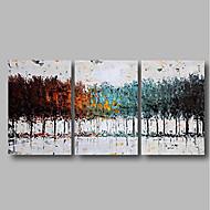 billiga Blom-/växtmålningar-Hang målad oljemålning HANDMÅLAD - Abstrakt / Blommig / Botanisk Samtida Duk / Tre paneler