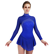 cheap -Figure Skating Dress Women's / Girls' Ice Skating Dress Dark Blue / Aquamarine Open Back Spandex High Elasticity Competition Skating Wear Quick Dry, Anatomic Design, Handmade Classic Ice Skating