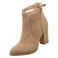 baratos Sapatos Femininos-Mulheres Couro Ecológico Outono Curta / Ankle Botas Salto Robusto Dedo Apontado Preto / Khaki