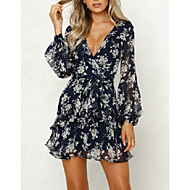Women's Holiday / Going out Dress - Floral Print / Wrap Deep V Summer White M L XL