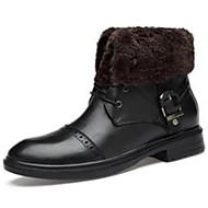 baratos Sapatos de Tamanho Pequeno-Homens Sapatos Confortáveis Couro Ecológico Inverno Botas Botas Cano Médio Preto