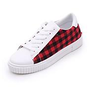 baratos Sapatos Femininos-Mulheres Sapatos Confortáveis Couro Ecológico Outono Casual Tênis Sem Salto Ponta Redonda Vermelho / Azul