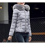 Per donna Quotidiano Tinta unita Standard Parka, Cotone Manica lunga Con cappuccio Nero / Rosa / Grigio L / XL / XXL