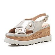 baratos Sapatos Femininos-Mulheres Sapatos Pele Napa Primavera Verão Conforto Sandálias Creepers Preto / Cinzento Claro