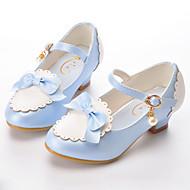 baratos Sapatos de Menina-Para Meninas Sapatos Couro Ecológico Primavera & Outono Sapatos para Daminhas de Honra Saltos Laço / Presilha / Combinação para Infantil Azul / Rosa claro / Amêndoa / Festas & Noite